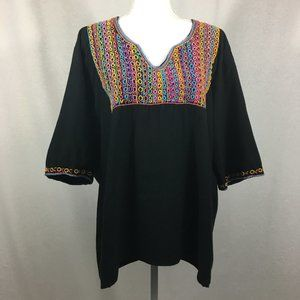 Nativa Black Embroidered Mexican Style Blouse M2